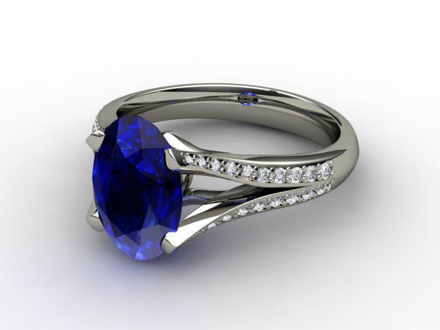 Natural Blue Sapphire and Diamond Ring. Platinum (950)