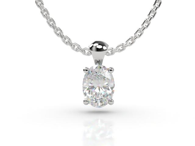 Certified Oval Diamond Pendant