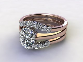 Bridal-Set | 18ct. Rose Gold 3 Part Diamond Engagement Ring-Set, Round Brilliant-cut Certified Diamond Selected by You-03-0400-1415