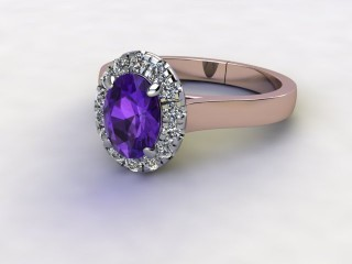 Natural Amethyst and Diamond Halo Ring. Hallmarked 18ct. Rose Gold-03-0412-8918