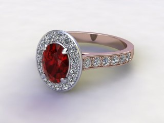 Natural Mozambique Garnet and Diamond Halo Ring. Hallmarked 18ct. Rose Gold-03-0417-8921