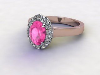 Natural Pink Sapphire and Diamond Halo Ring. Hallmarked 18ct. Rose Gold-03-0424-8918