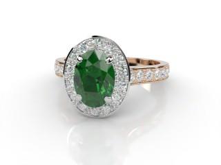 Natural Green Tourmaline and Diamond Halo Ring. Hallmarked 18ct. Rose Gold-03-0451-8921