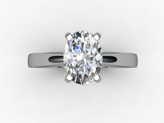Certificated Oval Diamond Solitaire Engagement Ring in 18ct. White Gold - 12