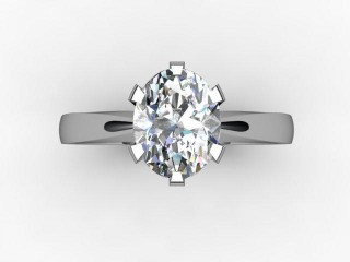 Certificated Oval Diamond Solitaire Engagement Ring in 18ct. White Gold - 9