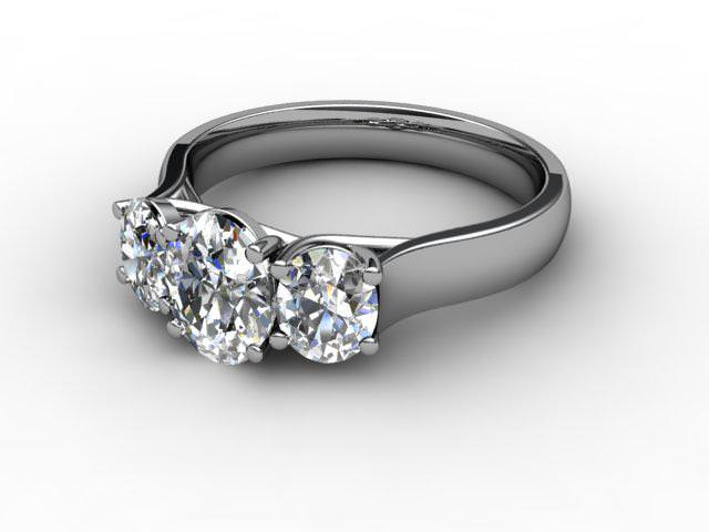 Trilogy 18ct. White Gold Oval-Cut Diamond