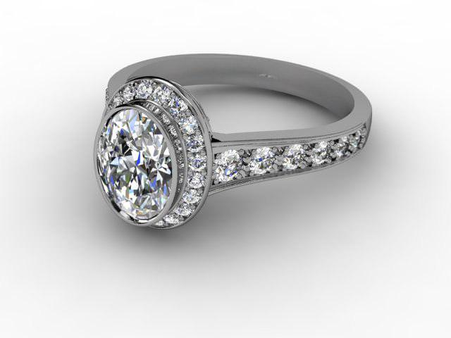 Certificated Oval Diamond in 18ct. White Gold