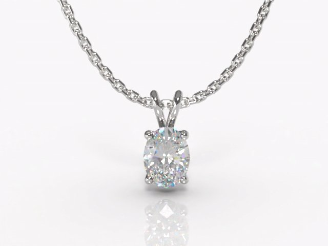 Certified Oval Diamond Pendant - Main Picture