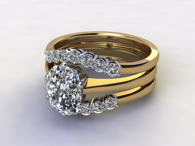 Bridal-Set | 18ct. Yellow Gold 3 Part Diamond Engagement Ring-Set, Round Brilliant-cut Certified Diamond Selected by You