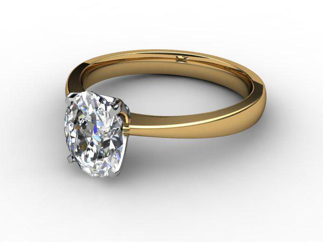 Certificated Oval Diamond Solitaire Engagement Ring in 18ct. Gold - Main Picture