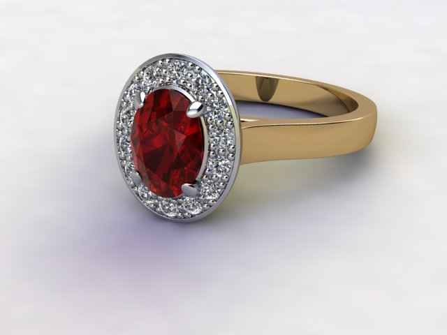 Natural Mozambique Garnet and Diamond Halo Ring. Hallmarked 18ct. Yellow Gold