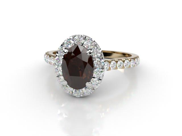 Natural Smoky Quartz and Diamond Halo Ring. Hallmarked 18ct. Yellow Gold