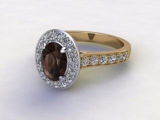 Natural Smoky Quartz and Diamond Halo Ring. Hallmarked 18ct. Yellow Gold-03-2839-8921