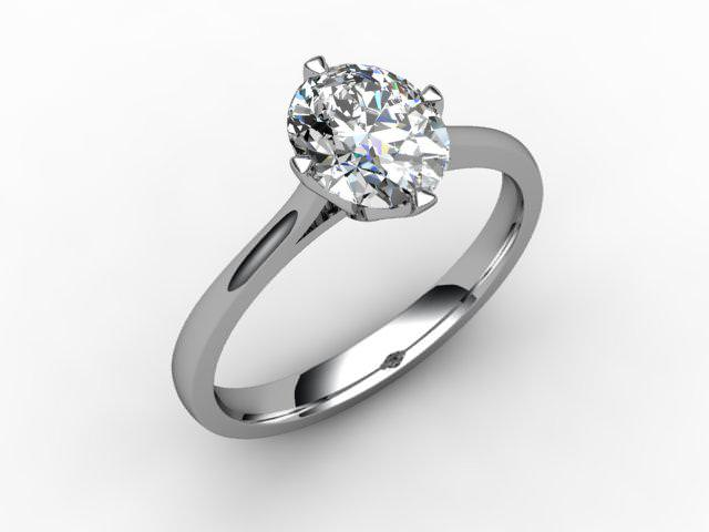 Certificated Oval Diamond Solitaire Engagement Ring in Palladium