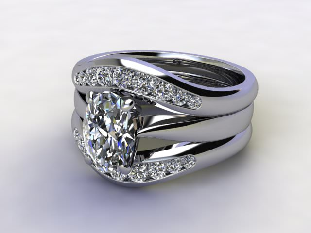 Bridal-Set | Palladium 3 Part Diamond Engagement Ring-Set, Round Brilliant-cut Certified Diamond Selected by You