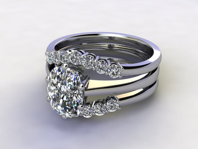 Bridal-Set | Palladium 3 Part Diamond Engagement Ring-Set, Round Brilliant-cut Certified Diamond Selected by You