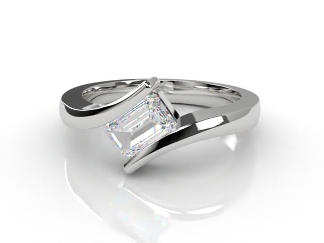 Certificated Emerald-Cut Diamond Solitaire Engagement Ring in Platinum