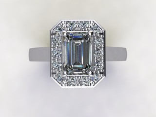 Certificated Emerald-Cut Diamond in Platinum - 9