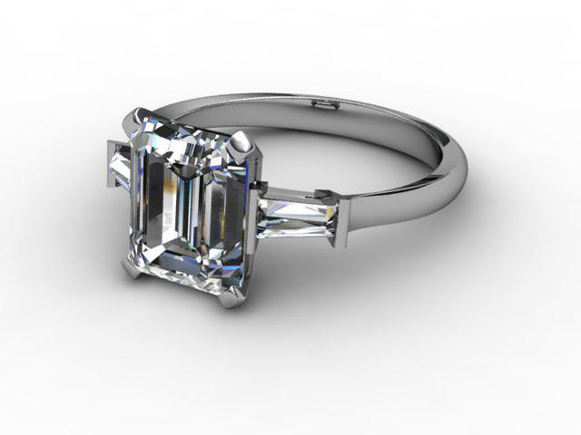 Certificated Emerald-Cut Diamond in Platinum