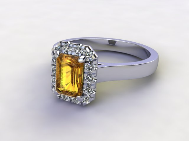Natural Citrine and Diamond Halo Ring. Hallmarked Platinum (950)