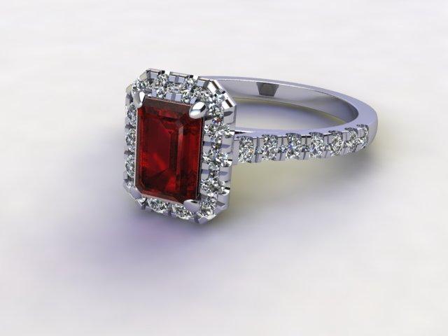 Natural Mozambique Garnet and Diamond Halo Ring. Hallmarked Platinum (950)