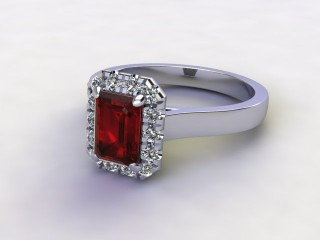 Natural Mozambique Garnet and Diamond Halo Ring. Hallmarked Platinum (950)-04-0117-8923