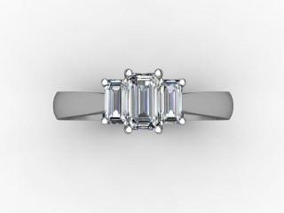 Trilogy Platinum Emerald-Cut Diamond - 12