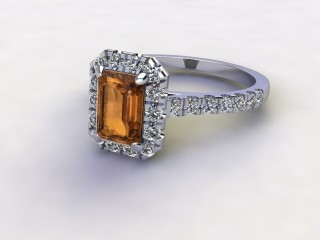 Natural Golden Citrine and Diamond Halo Ring. Hallmarked Platinum (950)-04-0133-8922