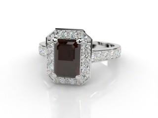 Natural Smoky Quartz and Diamond Halo Ring. Hallmarked Platinum (950)-04-0139-8924