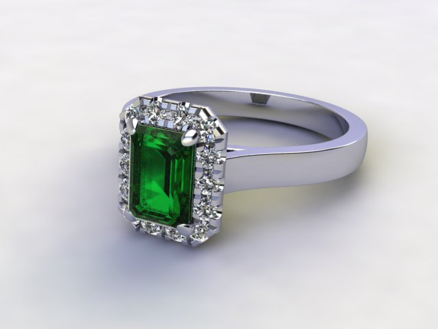 Natural Green Tourmaline and Diamond Halo Ring. Hallmarked Platinum (950)