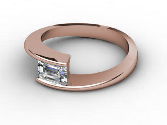 Certificated Emerald-Cut Diamond Solitaire Engagement Ring in 18ct. Rose Gold - Main Picture