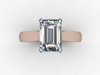 Certificated Emerald-Cut Diamond Solitaire Engagement Ring in 18ct. Rose Gold - 9