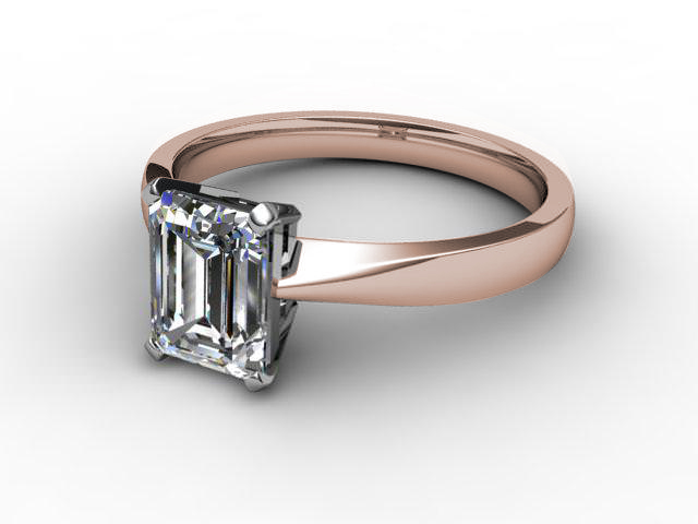 Certificated Emerald-Cut Diamond Solitaire Engagement Ring in 18ct. Rose Gold