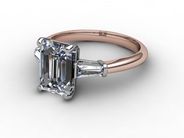 Certificated Emerald-Cut Diamond in 18ct. Rose Gold