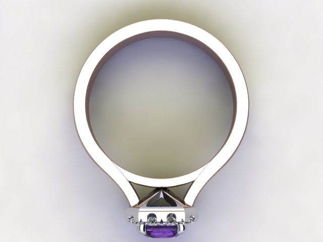 Natural Amethyst and Diamond Halo Ring. Hallmarked 18ct. Rose Gold