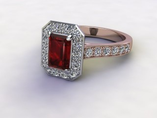 Natural Mozambique Garnet and Diamond Halo Ring. Hallmarked 18ct. Rose Gold-04-0417-8924