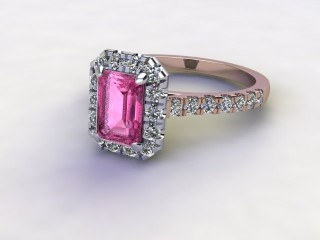 Natural Pink Sapphire and Diamond Halo Ring. Hallmarked 18ct. Rose Gold-04-0424-8922