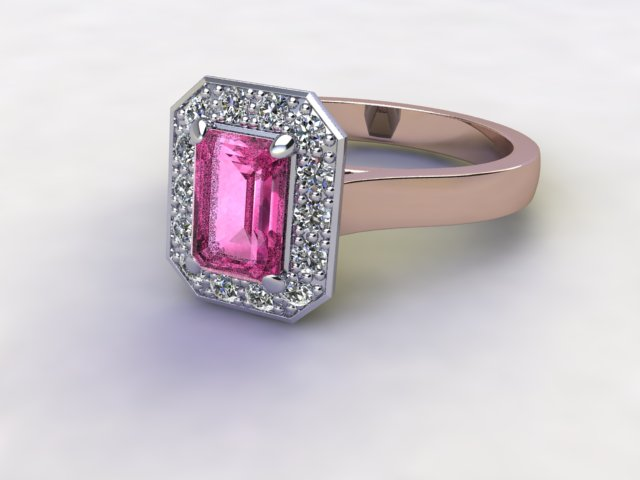 Natural Pink Sapphire and Diamond Halo Ring. Hallmarked 18ct. Rose Gold