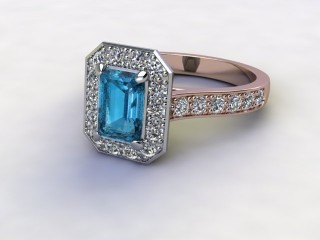 Natural Sky Blue Topaz and Diamond Halo Ring. Hallmarked 18ct. Rose Gold-04-0438-8924