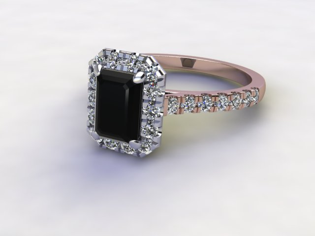 Natural Smoky Quartz and Diamond Halo Ring. Hallmarked 18ct. Rose Gold