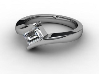 Certificated Emerald-Cut Diamond Solitaire Engagement Ring in 18ct. White Gold-04-0500-1909