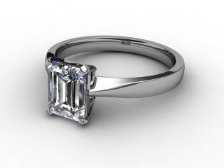 Certificated Emerald-Cut Diamond Solitaire Engagement Ring in 18ct. White Gold