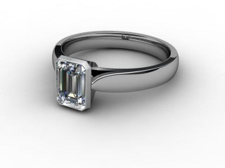 Certificated Emerald-Cut Diamond Solitaire Engagement Ring in 18ct. White Gold-04-0500-6030