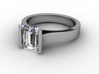 Certificated Emerald-Cut Diamond Solitaire Engagement Ring in 18ct. White Gold-04-0500-6154
