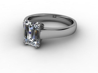 Certificated Emerald-Cut Diamond Solitaire Engagement Ring in 18ct. White Gold-04-0500-8014