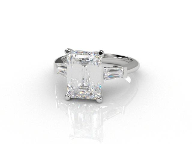 Certificated Emerald-Cut Diamond in 18ct. White Gold