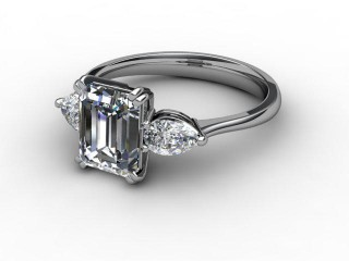Trilogy 18ct. White Gold Emerald-Cut & Pearshape Diamond
