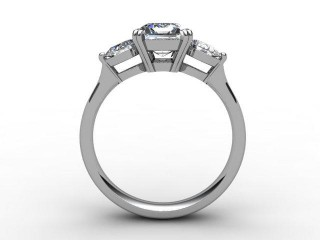 Trilogy 18ct. White Gold Emerald-Cut & Pearshape Diamond - 6