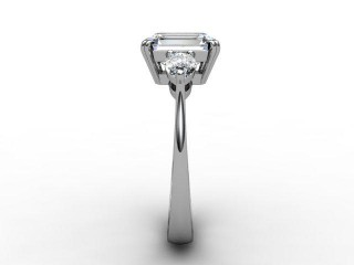 Trilogy 18ct. White Gold Emerald-Cut & Pearshape Diamond - 9
