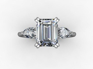 Trilogy 18ct. White Gold Emerald-Cut & Pearshape Diamond - 12